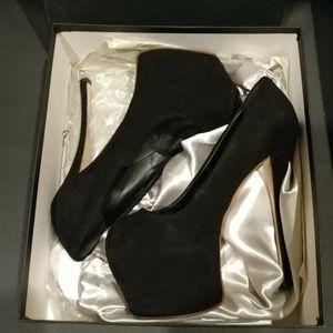 "Giuseppe Zanotti Black Peep Toe Suede 6"" Heels"
